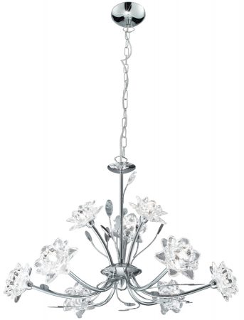 Bellis Polished Chrome 9 Light Chandelier With Flower Glass Shades
