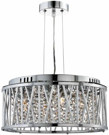 Elise 5 Light Ceiling Pendant Polished Chrome Crystal Diamond Cut Tubes