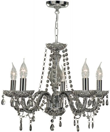 Marie Therese Smoked Crystal 5 Light Chandelier