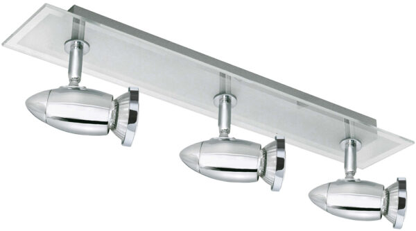 Saturn Chrome And Glass 3 Spot Lamps Ceiling Light