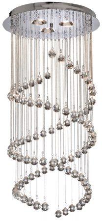 Hallway Chrome Double Spiral 5 Light Multi Drop Crystal Pendant