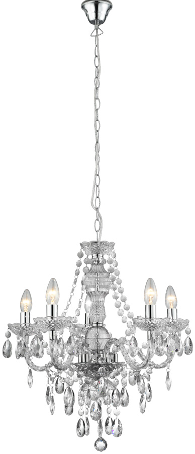 Marie Therese Clear Acrylic 5 Light Chandelier