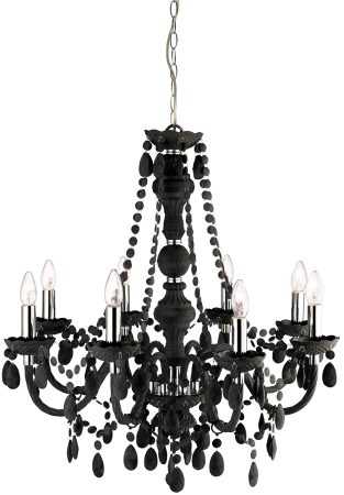 Marie Therese Grey Acrylic 8 Light Chandelier With Crystal Drops
