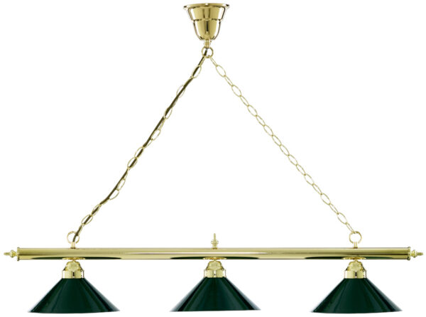 Brass Pool Snooker Table Light With Green Shades