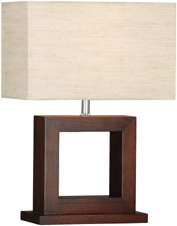Cosmopolitan Dark Wood Table Lamp With Cream Oblong Shade