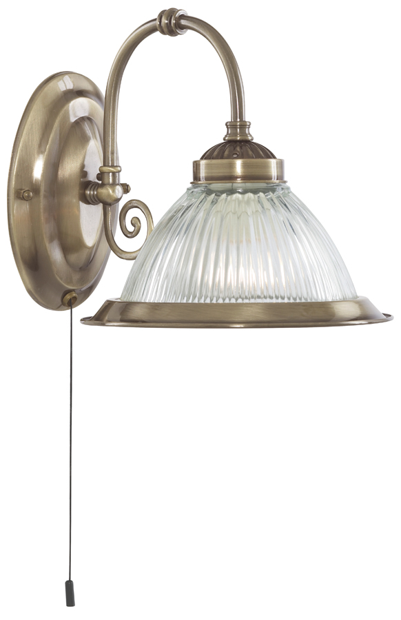 Wall Lights Brass Antique : Antique Brass American Diner Switched Wall Light 9341-1