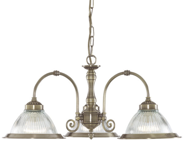 Antique Brass 3 Lamp American Diner Ceiling Light