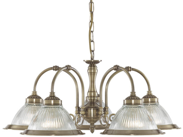 Antique Brass 5 Lamp American Diner Ceiling Light