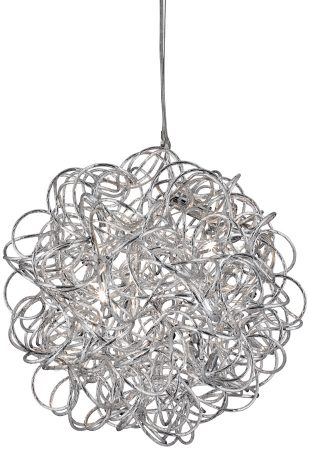 Modern Aluminium Scribble 6 Light Ceiling Pendant