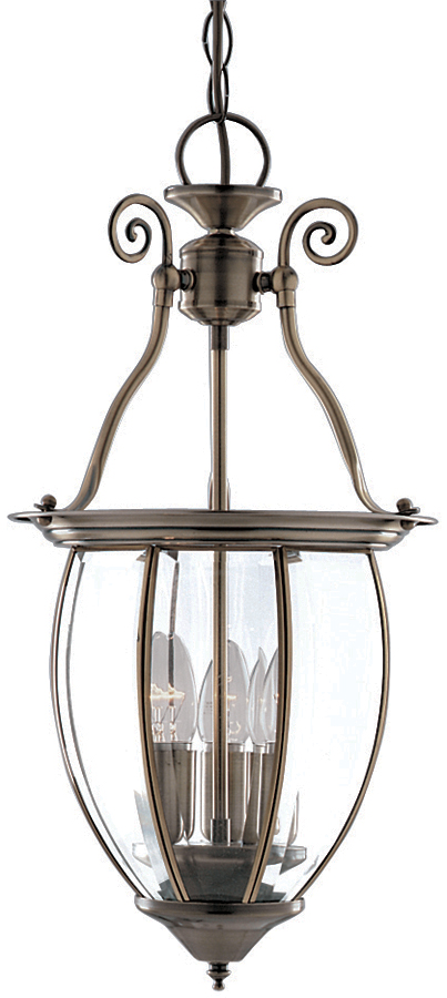 Solid 3 Light Antique Brass Hanging Lantern Traditional