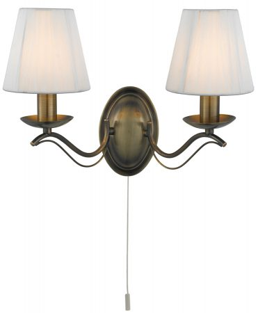 Andretti Antique Brass 2 Lamp Switched Wall Light Cream Shades