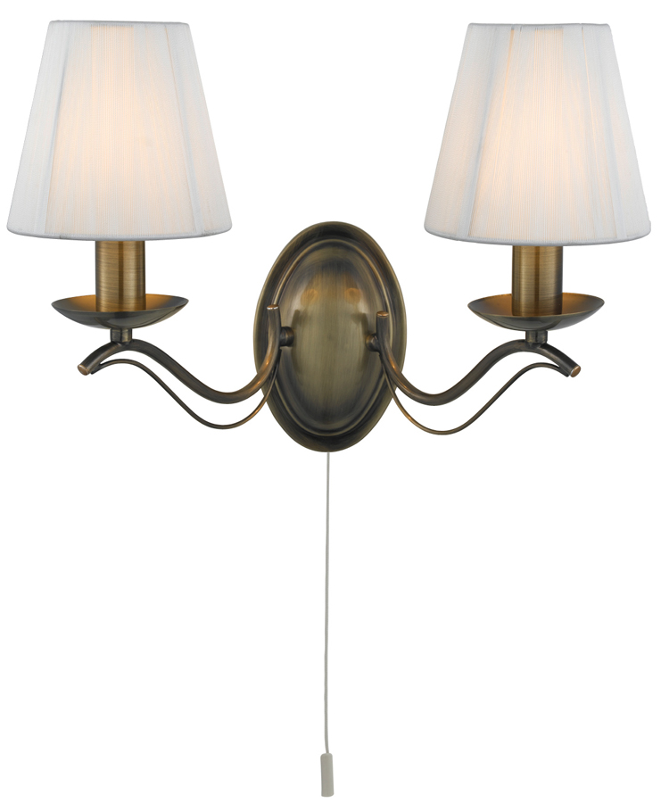 Wall Lamp Shades Sri Lanka : Andretti Antique Brass 2 Lamp Switched Wall Light Cream Shades 9822-2AB
