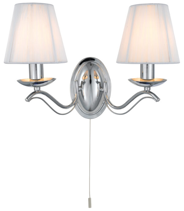 Andretti Polished Chrome 2 Lamp Switched Wall Light With Cream Shades