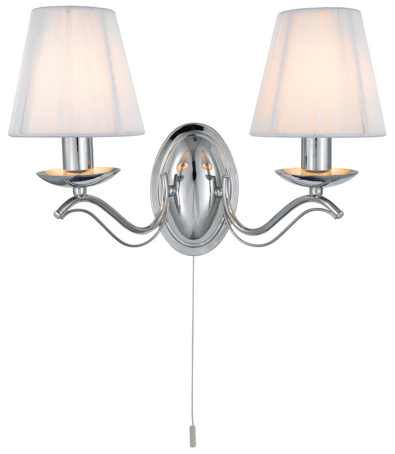 Andretti Polished Chrome 2 Lamp Switched Wall Light With Cream Shades 9822-2CC