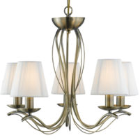 Andretti Antique Brass 5 Light Chandelier With Cream Shades
