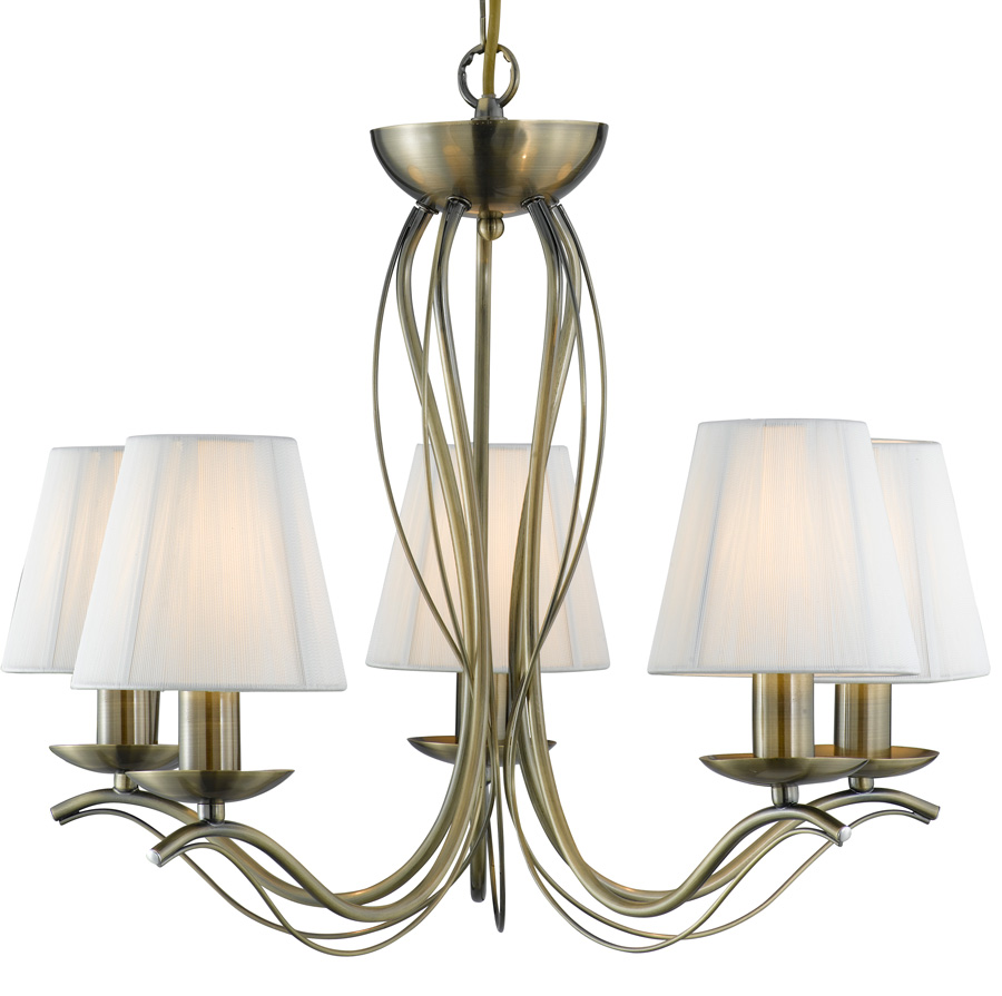 Andretti Antique Brass 5 Light Chandelier With Cream ...