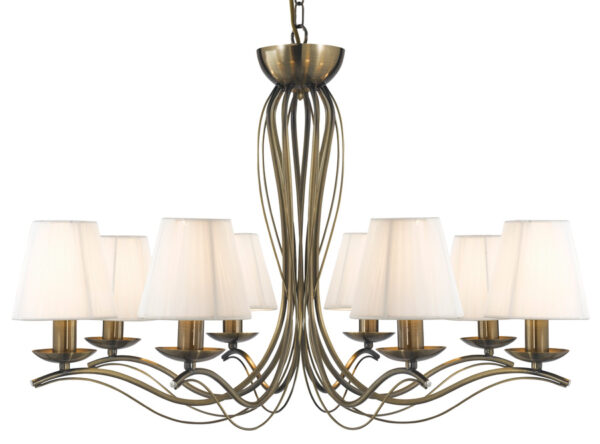 Andretti Antique Brass 8 Light Chandelier With Cream Shades