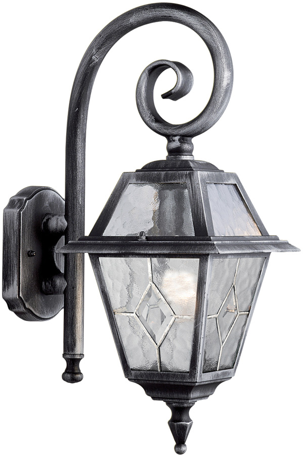 Genoa Black And Silver Traditional Outdoor Wall Lantern
