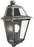 New Orleans Black And Gold Flush Outdoor Wall Lantern