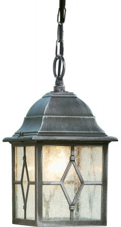 Genoa Black And Silver Hanging Outdoor Porch Lantern