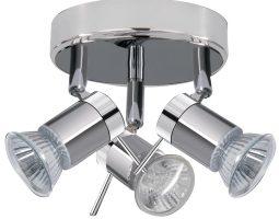 Aries Chrome Bathroom 3 Lamp Ceiling Spot Lights