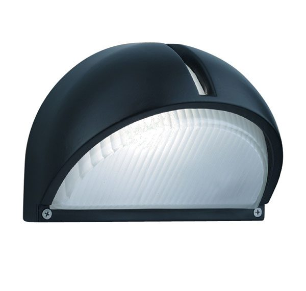 Modern Domed Black Aluminium Angled Outdoor Wall Light
