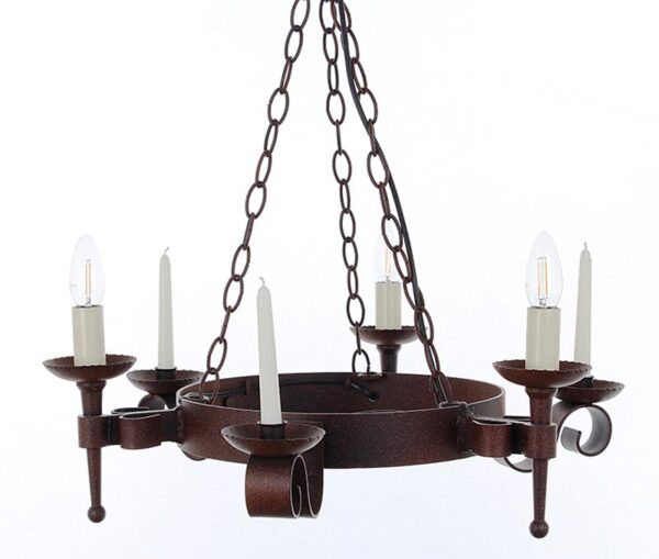 Refectory 3 light 3 candle aged wrought iron Gothic chandelier