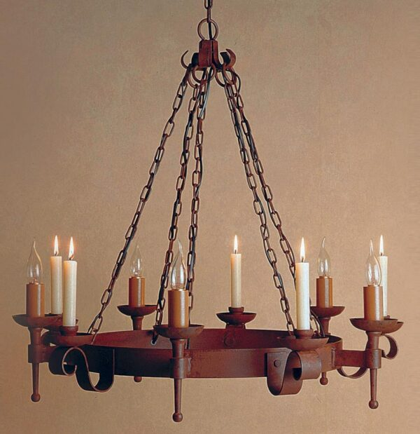 Refectory 5 light 5 candle aged wrought iron Gothic chandelier