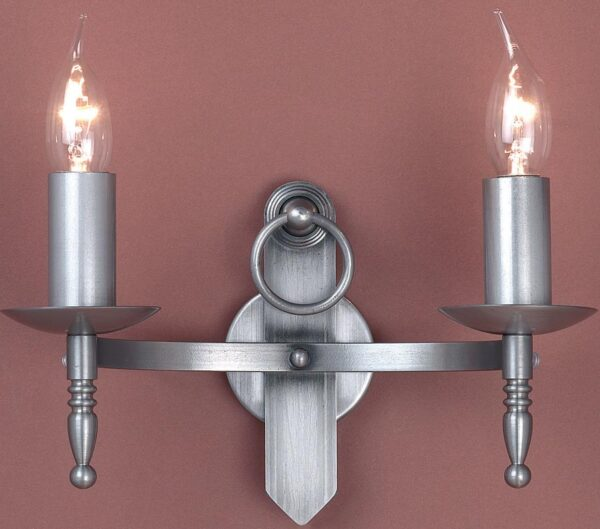 British Made Wall Lights : Impex Mitre Sterling Iron Work Twin Gothic Wall Light Made In Britain