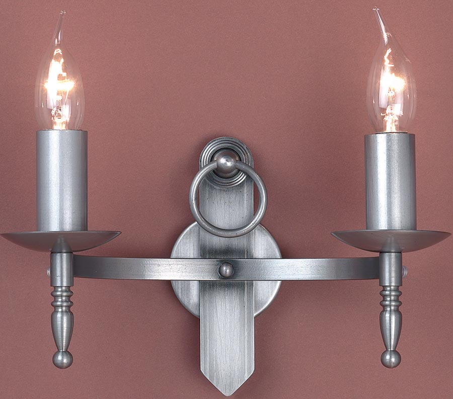 Impex mitre sterling iron work twin gothic wall light made in britain aloadofball Gallery
