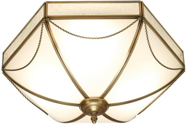 Russell Frosted Glass Art Deco Style Flush 3 Light In Brass