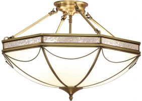 Russell Frosted Glass Art Deco Semi Flush 3 Light In Brass