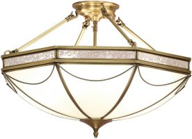 Russell Frosted Glass Art Deco Semi Flush 8 Light In Brass