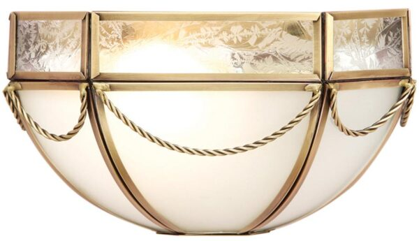 Russell Frosted Glass Art Deco Style Wall Light In Brass