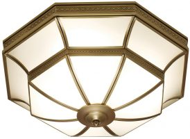 Balfour Frosted Glass Art Deco Style Flush 4 Light In Brass