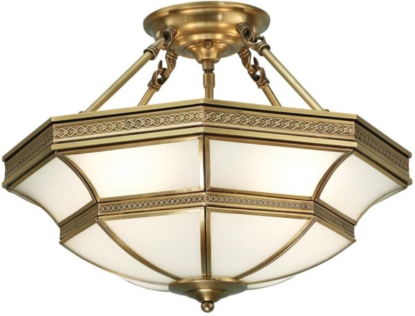 Balfour Frosted Glass Art Deco Semi Flush 4 Light In Brass