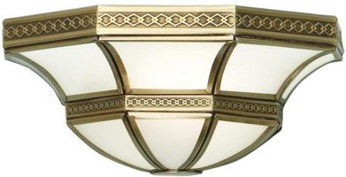 Balfour Frosted Glass Art Deco Style Flush Wall Light In Brass