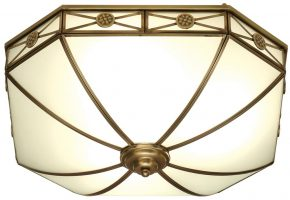 Bannerman Frosted Glass Traditional Flush 4 Light In Brass