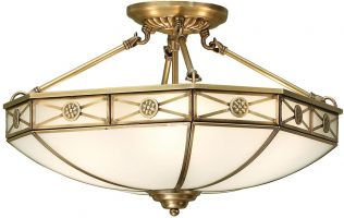 Bannerman Frosted Glass Traditional Semi Flush 4 Light In Brass