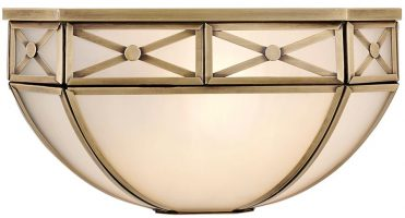 Bannerman Frosted Glass Traditional Flush Wall Light In Brass