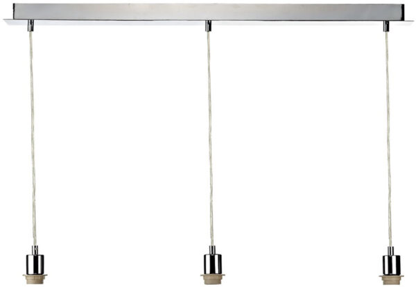 Dar Modern Polished Chrome 3 Light Ceiling Suspension Plate