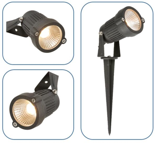 Adjustable 4w LED outdoor garden spike spot light in black IP54
