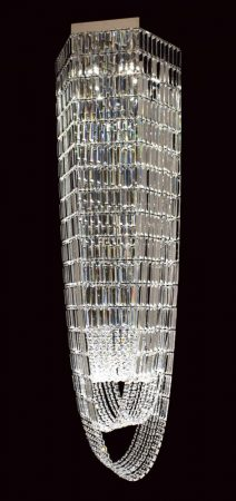 Impex Crystal Art Hexagonal 6 Light Chandelier Polished Chrome
