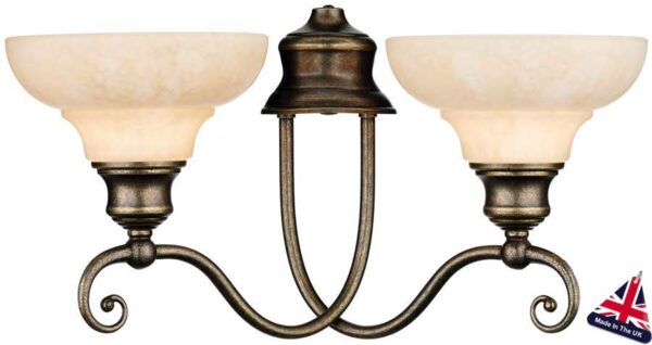 Stratford Solid Brass Marble Glass Twin Wall Light UK Made