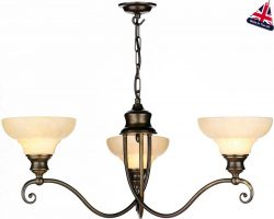 Stratford Solid Brass Marble Glass 3 Light Chandelier UK Made