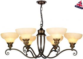 Stratford Solid Brass Marble Glass 6 Light Chandelier UK Made
