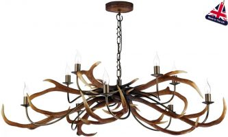 David Hunt Antler 10 Light Highland Rustic Chandelier UK Made