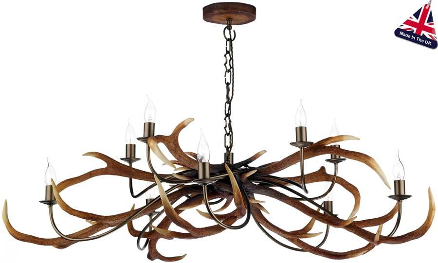 David hunt antler 10 light highland rustic chandelier uk made sta2329 david hunt antler 10 light highland rustic chandelier uk made aloadofball Images