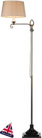 Stratford Height Adjustable Solid Brass Floor Lamp UK Made