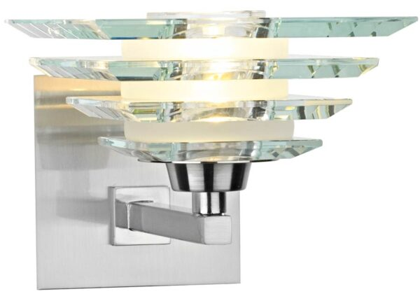 Dar Stirling Art Deco Style Glass Pyramid Wall Light Chrome